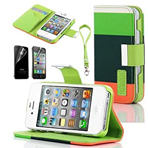 Viva Flip ID Card Wallet Colorful PU Leather Purse Design Case Cover w/Stand for IPhone 4 4G 4S with Screen Protector+ Stylus