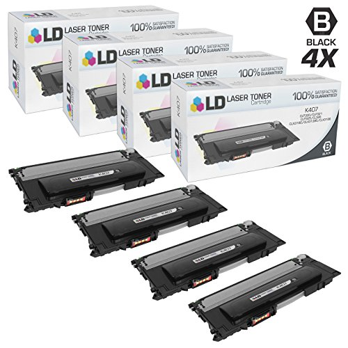 LD Compatible Samsung CLT-K407S Set of 4 Black Laser Toner Cartridges for CLP 320, 320N, 321N, 325, 325W, 326, CLX 3180, 3185FW, 3185N, 3186 Printers