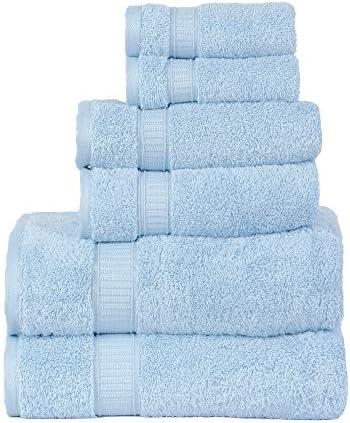 Towels Set for Bathroom, Hotel & Spa Quality, Super Soft, Highly Absorbent, Luxury Towels, Genuine Cotton 6 Piece Towel Sets, Includes 2 Bath Towels, 2 Hand Towels, 2 Washcloths, La Hammam, Aqua