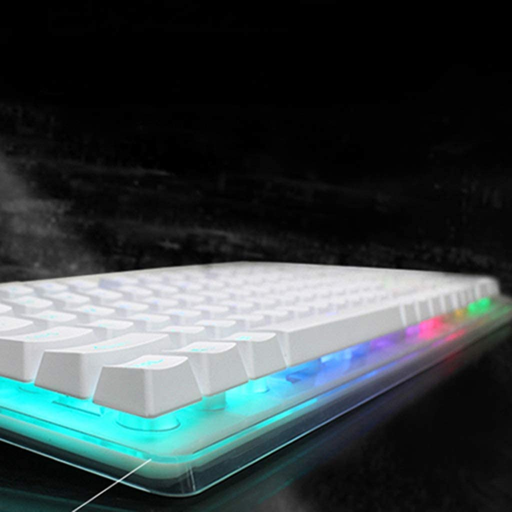 Guanwen Mechanical Feel Game Keyboard ABS Floating Keycaps Ergonomic Multimedia Rainbow Backlit 19 Keys No Conflict White Keeyboard
