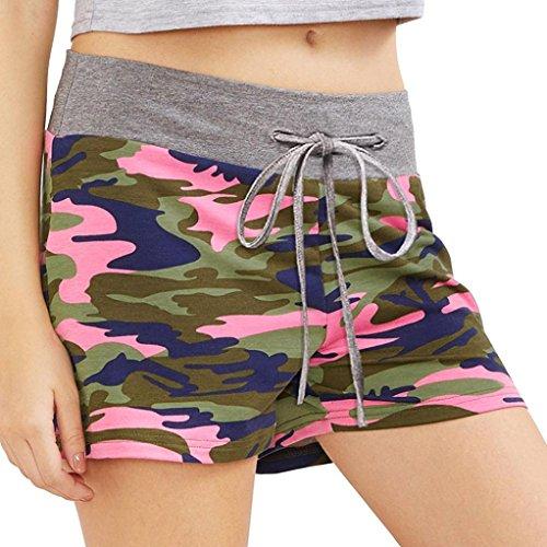 Realdo Women's Elastic Hot Shorts,Lady Camouflage Workout Yoga Drawstring Pants (Pink,M)