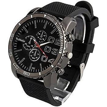 ShoppeWatch Mens Black Wrist Watch Large Face 50mm Dial Silicone Band Reloj Para Hombre Black 1091BK