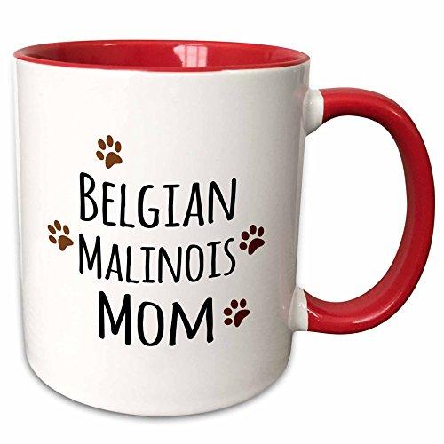 3dRose mug_154070_5 Belgian Malinois Dog Mom Breed-Brown Muddy Paw Prints-Doggy Lover Ceramic, 11 oz, Red/White (Malinois Belgian Mug)