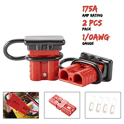 BUNKER INDUST 175A 1/0AWG Battery Quick Connect Wire Harness Plug Kit Battery Cable Quick Connect Disconnect Plug for Winch Auto Car Trailer Driver Electrical Devices,2 Pcs,Red ()