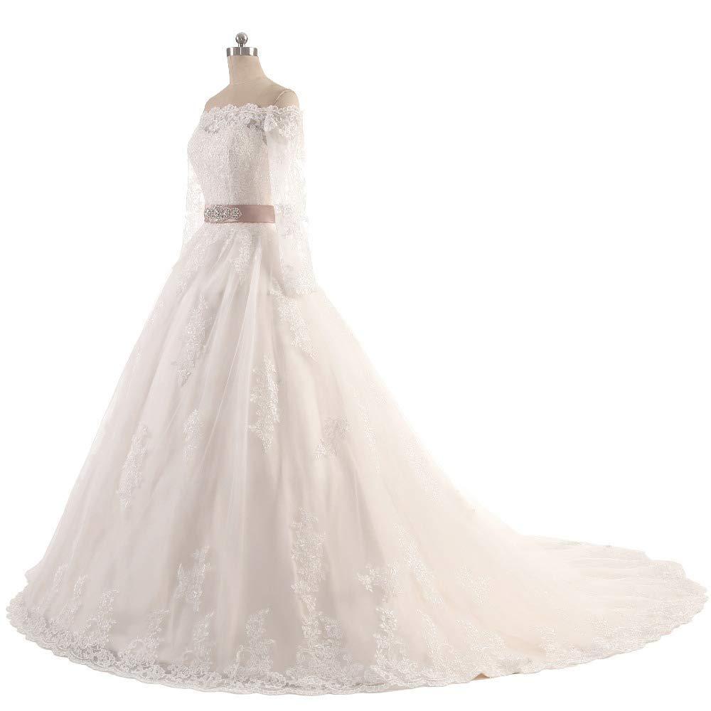 b1088256e4aa Off Shoulder Long Sleeve Ball Gown Wedding Dress