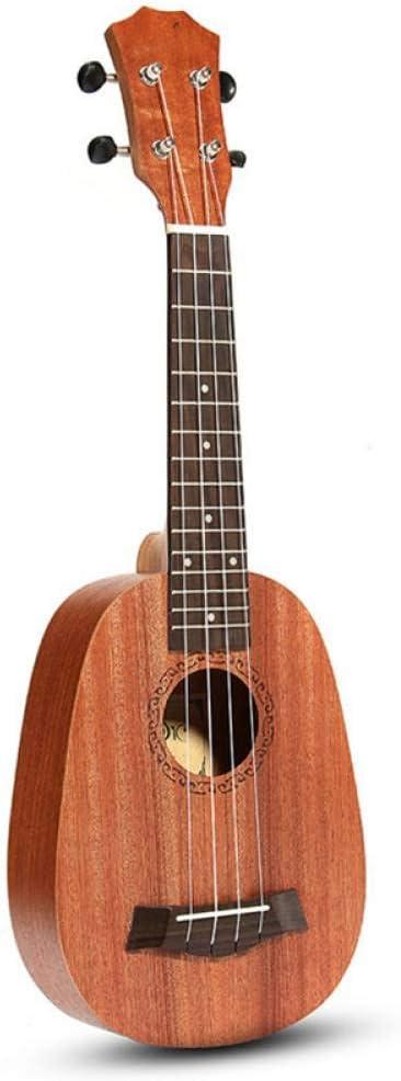 ZGHNAK 21 pulgadas 4 cuerdas estilo piña caoba Hawaii ukelele Uke bajo eléctrico para guitarra instrumentos musicales amante de la música