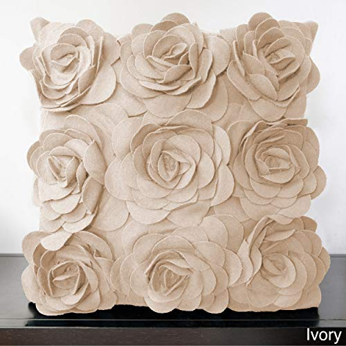 - PH Square Ivory Wool Blend Flower Throw Pillow Beautiful Solid Vibrant Felt Bright Dark Cream Color Girl Soft Garden Whimsical Design Decorative Plush Floral White Textured Accent Petal Down Filled