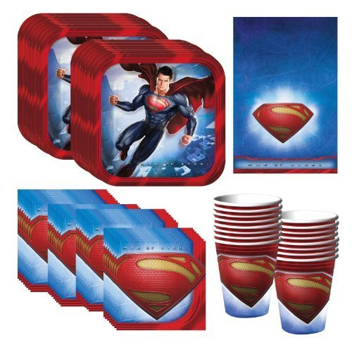 Superman Party Supplies Pack Including Plates, Cups, Napkins and Tablecover - 16 Guests