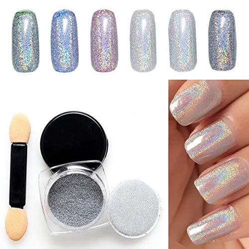 leegoal Rainbow Chrome Nail Art Powder Holographic Mirror Effect Mermaid Glitter Pigment Manicure Nail Powder Dust with Applicator, 0.5g