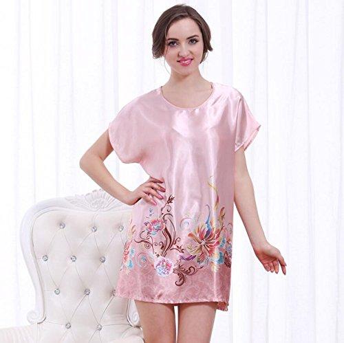 LJ&L La Sra casa de verano de ocio sueltos pijamas camisón de manga corta falda de baño atractivo sección delgada,A2,one size D2