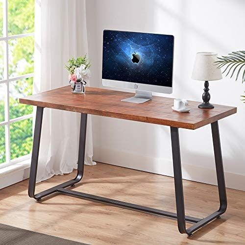 HSH Solid Wood Computer Desk, Rustic Vintage Metal Writing Desk, Industrial Soho Study Table for Home Office, Brown 55 inch.