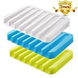 #6: Soap Dish, FOTYRIG Silicone Soap Holder Drainer Waterfall Soap Tray for Shower/Bathroom/Kitchen/Counter Top,Keep Soap Bars Dry Clean,Easy Cleaning,Flexible -3 Colors