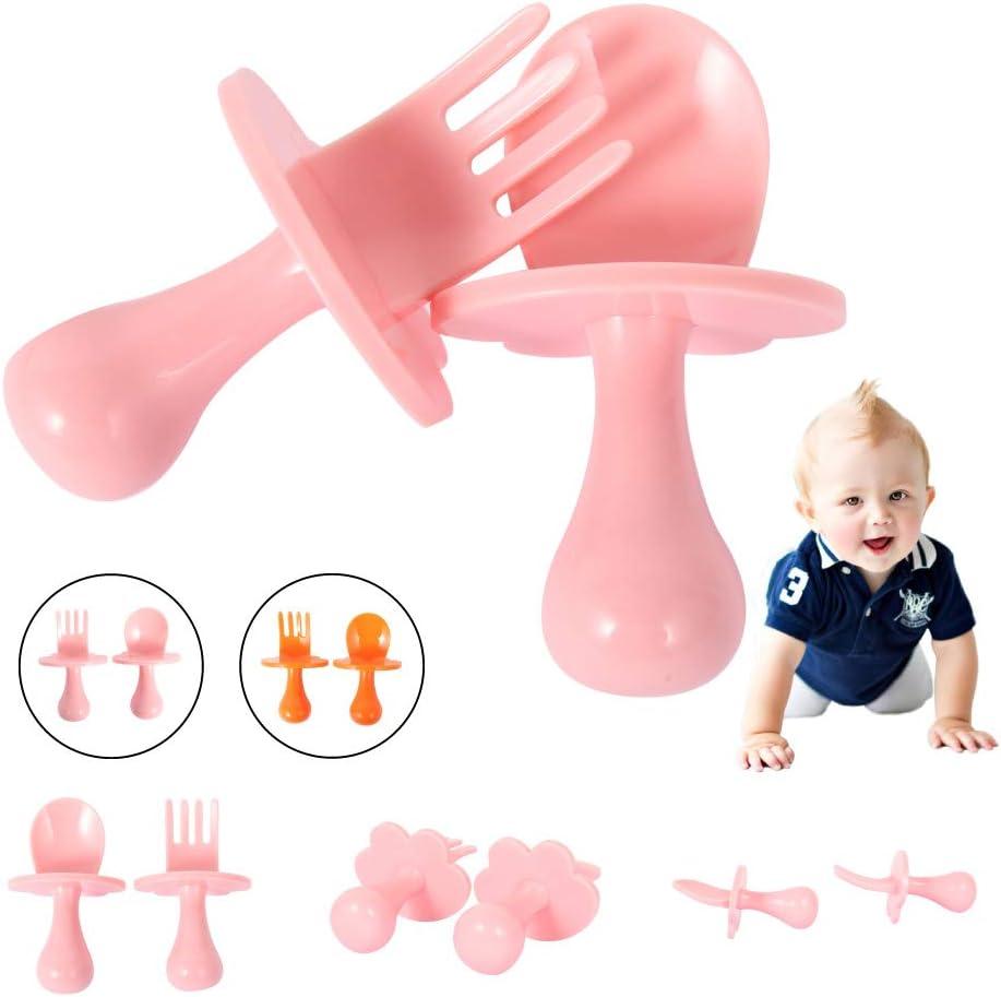 Orange, 2Pcs Toddler Cutlery Sets Baby Utensil Self Feeding Kit Children Feeding Training Learning Spoons and Fork Easy Grip 7x4.5cm