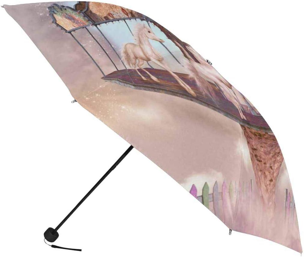 InterestPrint Custom Christmas Horse Sowflake Anti Sun UV Foldable Travel Compact Umbrella