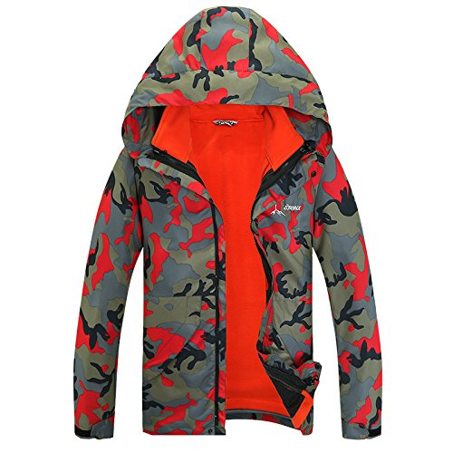 Large DYF Coat FYM Camouflage Zipper Hat Size JACKETS Warm Camo Long Red Jacket Sleeves qSwnTXa