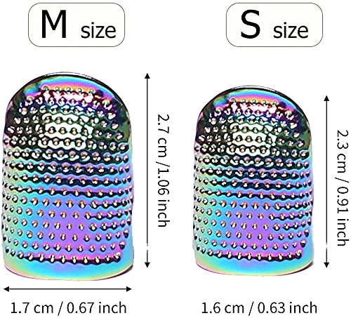 AXEN 4 Pieces Sewing Thimble, Metal Dazzle Gold Sewing Thimble Finger Protector, Accessories DIY Sewing Tool, Two Size 4 Pieces