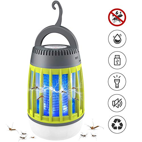 OUMC Bug Zapper Light Mosquito Killer Repellent Lamp USB Camping Lantern Insect Control Repeller Trap Portable Waterproof Outdoor Home Garden Travelling 3 in 1-Green