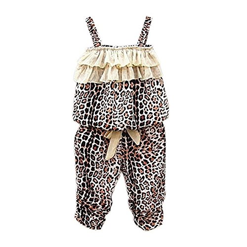 Holiday 2 Piece Outfit - Verypoppa Baby Girls Summer Outfit 2 Piece Leopard Lace Vest Tank Top + Pants Set (2-3 Years)