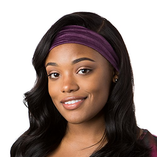 Hipsy Xflex Crushed Adjustable & Stretchy Wide Sports Headbands for Women (Crushed Plum) ()