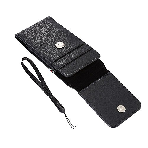 DFV mobile - Magnetic leather Holster Card Holder Case belt Clip Rotary 360º for => HTC ONE M9E > Black