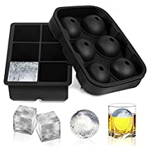 MODABLUE Silicone Bendable Ice Cube Mold Combo kit (Set of 2) , 6 Large IceBall and 6 Large Ice Sphere Cube Tray Maker for Wine, Whiskey, Cocktails,Vodka, Lemonade , Reusable and BPA Free