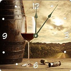 Rikki Knight Vintage Red wine Glass Design 13 Art Wall Clock