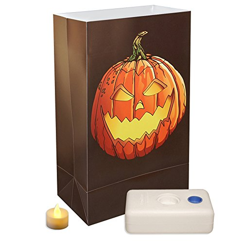 Lumabase 83936 12 Count Jack O' Lantern Battery Operated Luminaria Kit -