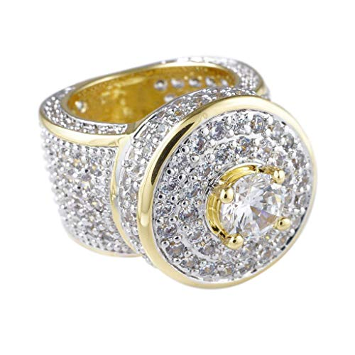 NIV'S BLING - 18K Yellow Gold-Plated Cubic Zirconia Hip Hop Cluster Ring Size 6 ()