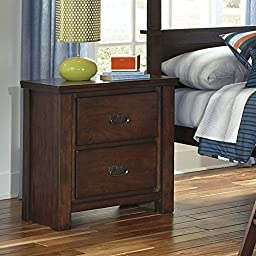 Two Drawer Nightstand in Rustic Brown Finish