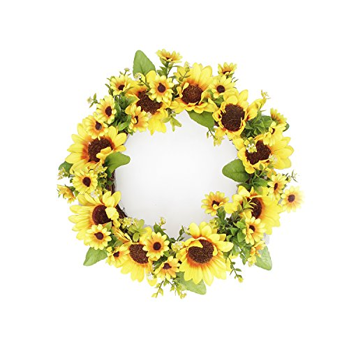 FAVOWREATH 2018 Vitality Series FAVO-W11 Handmade 9/11/14 inch Sunflowers Grapevine Wreath For Summer/Fall Festival Celebration Front Door/Floral Wall/Room/Gift/Wedding Decor Home Decor (11 inch) by FAVOWREATH