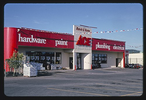 Vintography 24 x 16 Ready to Hang Gallery Wrapped Fine Art Canvas Print of: ACE Hardware, Post Falls, Idaho 2004 Roadside Americana, J Margolies 42a by Vintography