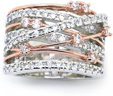 Sparkly Bride Crossover Cubic Zirconia Rose Gold Plated Wide Band Women Fashion Statement Ring