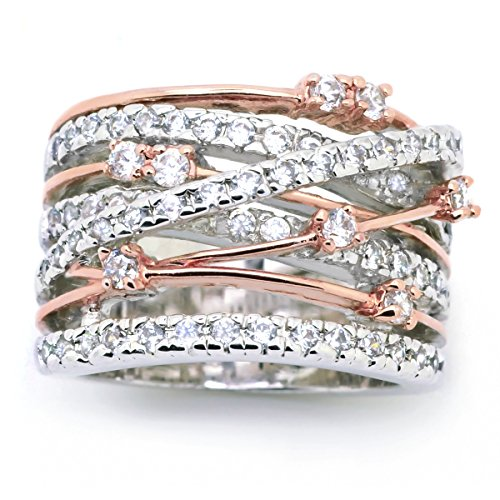 Rose Ring Tone Two (Sparkly Bride CZ Statement Ring Crossover Two-tone Rose Gold Plated Wide Band Women Fashion size 10)