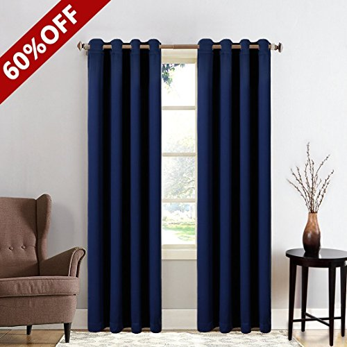 Window 2 Panels Treatment Thermal Insulated Solid Grommet Blackout Curtains / Drapes for Bedroom (Set of 2 Panels,52 by 63inch,Navy Blue)