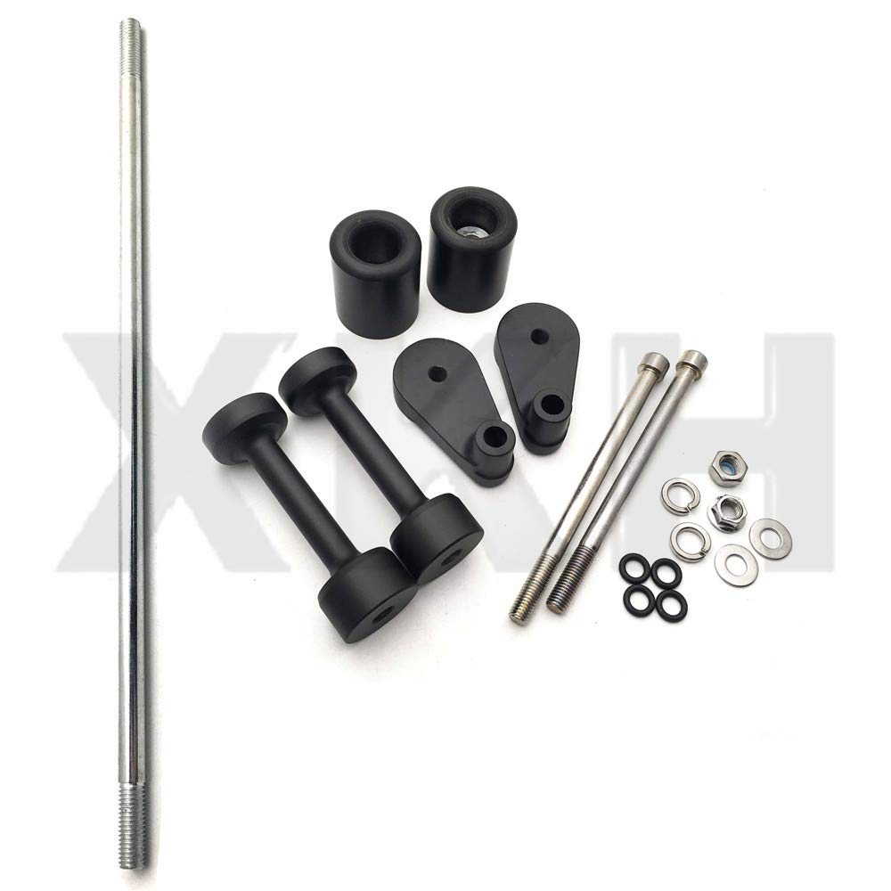 XKMT-No Cut Frame Slider Compatible With 2008 2009 2010 2011 2012 Kawasaki Ninja 250 250R Ex250 Black [B00YWCPJBW]