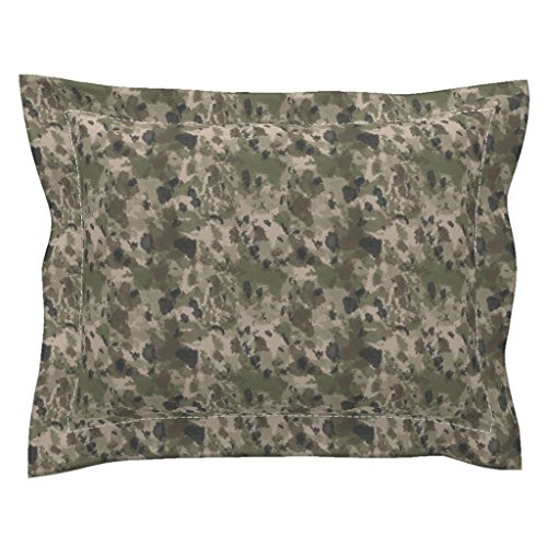 Roostery Camo Standard Flanged Pillow Sham Wwi Battlefield Trench Camo by Ricraynor Natural Cotton Sateen made - Trench Sateen