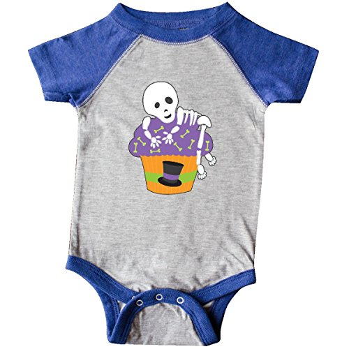 inktastic - Cupcake with Skeleton Infant Creeper Newborn Heather and Royal 27148