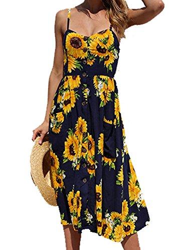 Miouke Women Dresses Floral Summer Bohemian Spaghetti Strap Swing Dress Sexy Beach Midi Dress (Cool Summer Dress)