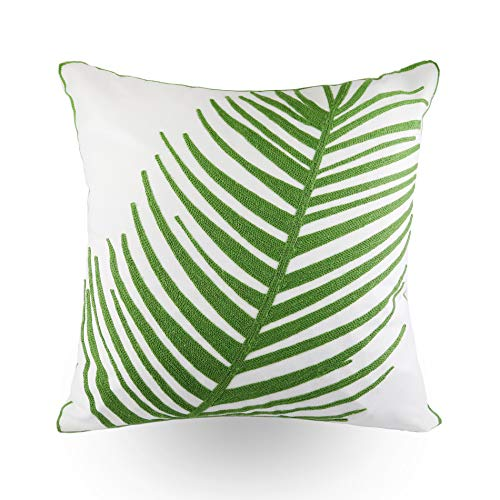 - Hodeco Embroidery Throw Pillow Covers 18x18 Inches Decorative Floor Pillows Cover for Couch 100% Cotton Cushion Cover Throw Pillow Case with Green Palm Leaf Embroidered 45x45cm, 1 Piece