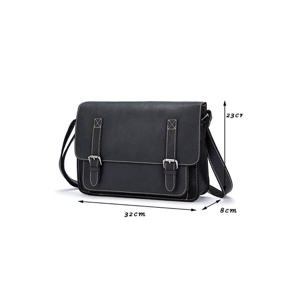 Balalafairy Lightweight Messenger Bag Men's Messenger Shoulder Bag Vintage Leather Briefcase Crossbody Day Bag for School and Work Adjustable Shoulder Strap by Balalafairy (Image #5)