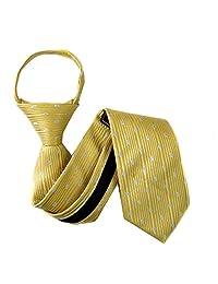 Yellow - Blue Boys 11 inch Zipper Necktie