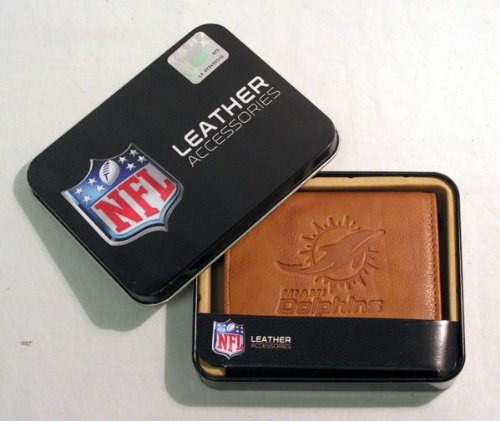 NFL Miami Dolphins Embossed Leather Trifold Wallet, Tan