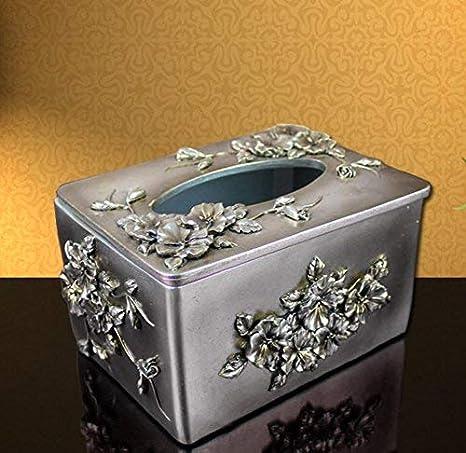 JIE Decoración casera Caja de pañuelos de Resina Creativa Europea Caja de Caja de Papel de cajón Cajón de cartón Caja de baño Dispensador de pañuelos de Papel Tapa de servilleta,16.5 *
