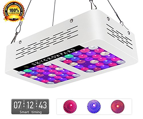 300W LED Grow Lights Programmable Timer Control AC ON/OFF 12-band Full Spectrum Plant Growing Light with UV/IR for Veg and Flower(White) by SKYGROWPARD