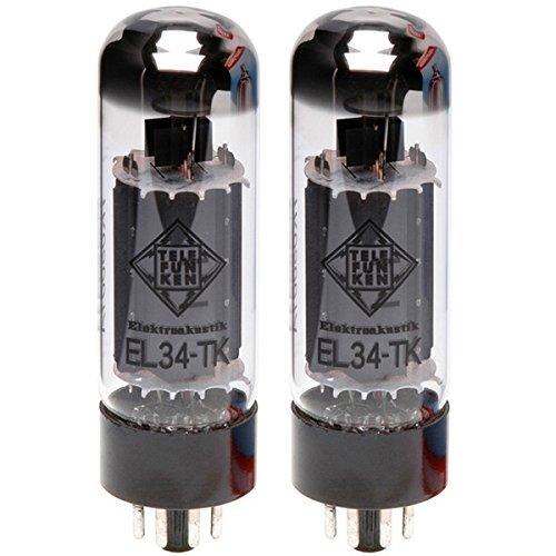TELEFUNKEN Elektroakustik Matched Pair of EL34-TK | Black Diamond Series 7 Pin Replacement Vacuum Tube
