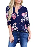 Bbalizko Womens V Neck Floral Tops 3/4 Sleeve Loose Lightweight Casual Blouses