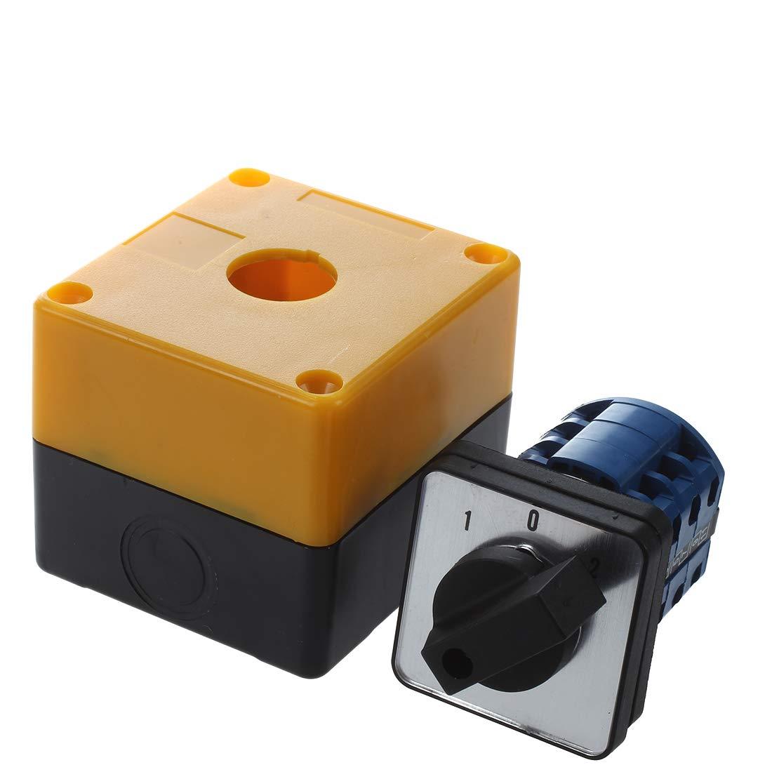 Interruptor - SODIAL(R)Interruptor conmutador 3 posiciones rotativo LW28-20/3 500V 20A Negro + Amarillo