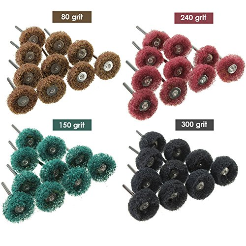 (Abrasive Buffing Wheels, 40pcs Buffing Polishing Wheel Set 80/120/160/240 Grit for Dremel Rotary Tool by Lukcase)