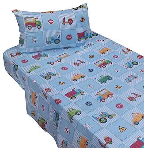 J-pinno Cute Cartoon Cars Truck Tractor Transportation Twin Sheet Set for Kids Boy Children,100% Cotton, Flat Sheet + Fitted Sheet + Pillowcase Bedding Set (Bedding Transportation Kids)