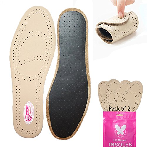 2 Pairs Premium Leather Insole Comfortable Shoe Pads, Mens or Womens Breathable Shock Absorber Insoles